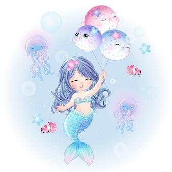Dibujado a mano linda sirena volando con globo de peces