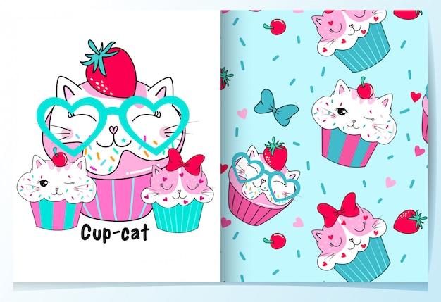 Dibujado a mano linda taza tortas patrón conjunto