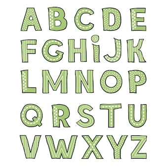 Dibujado a mano lindo alfabeto infantil