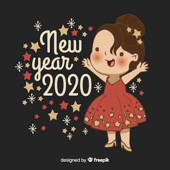 Dibujado a mano lindo año nuevo 2020