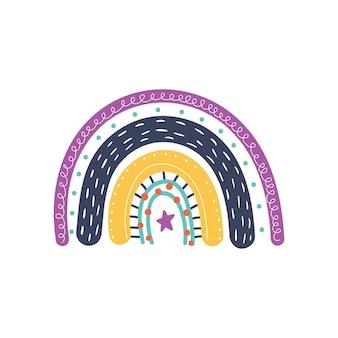 Dibujado a mano lindo arco iris en estilo escandinavo para niños
