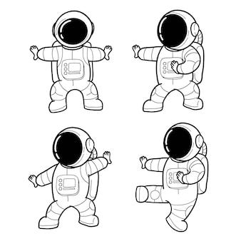 Dibujado a mano lindo astronauta