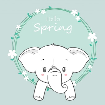 Dibujado a mano lindo bebé elefante hola primavera dibujos animados