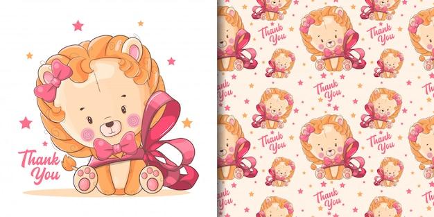 Dibujado a mano lindo bebé león con cinta roja y patrón