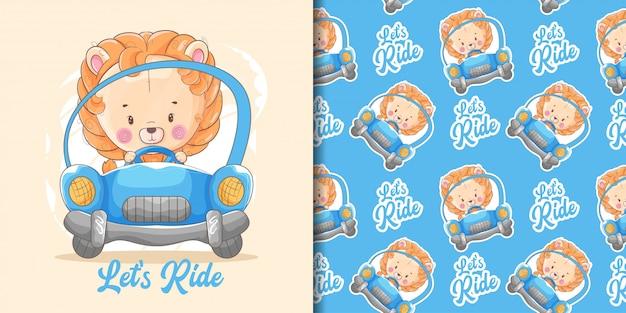 Dibujado a mano lindo bebé león con coche azul y patrón