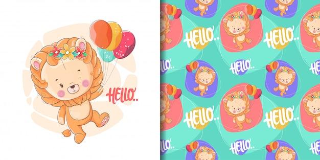 Dibujado a mano lindo bebé león con globos y patrón