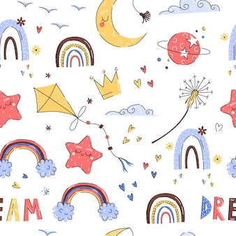 Dibujado a mano lindo bebé patrón con cometa, arco iris para guardería sobre un fondo blanco