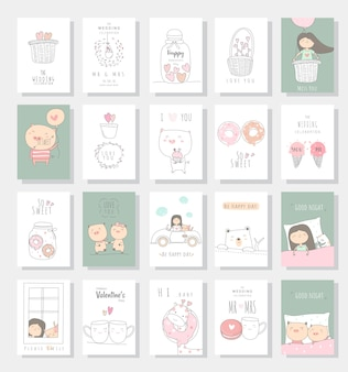 Dibujado a mano lindo bebé tarjeta animal estilo dibujado a mano