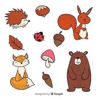 Dibujado a mano lindo bosque colección animales