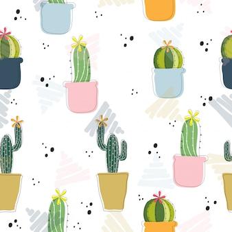 Dibujado a mano lindo cactus de fondo sin fisuras patrón