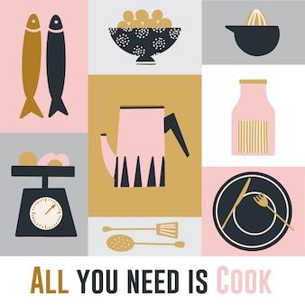 Dibujado a mano lindo cartel de cocina
