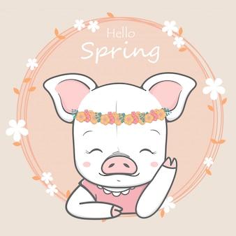 Dibujado a mano lindo cerdo niña hola primavera dibujos animados