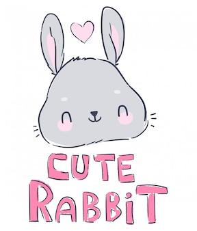 Dibujado a mano lindo conejito y corazón, diseño de impresión de conejo, impresión de niños en camiseta.
