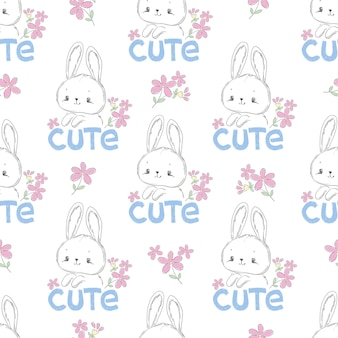 Dibujado a mano lindo conejito y flor rosa diseño de impresión de patrones sin fisuras en la camiseta