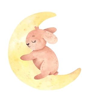 Dibujado a mano lindo conejo acuarela en la luna