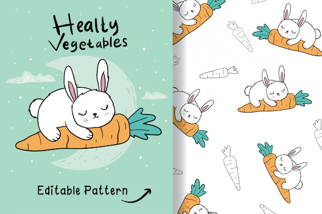 Dibujado a mano un lindo conejo con patrón editable