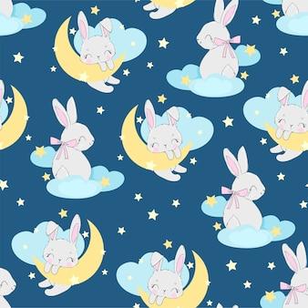 Dibujado a mano lindo conejo en el patrón de luna transparente. diseño de estampado para pijamas de bebé, textiles.