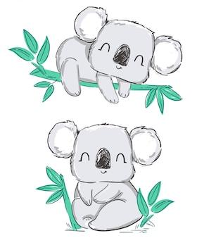 Dibujado a mano lindo conjunto gris koala y hojas aisladas en un blanco
