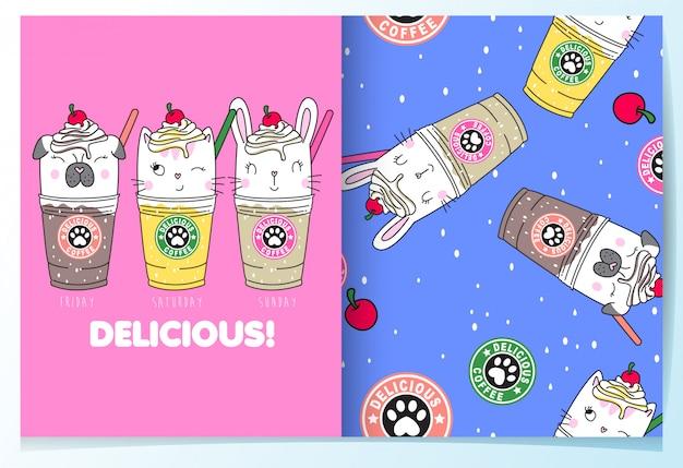Dibujado a mano lindo conjunto de patrón de bebidas