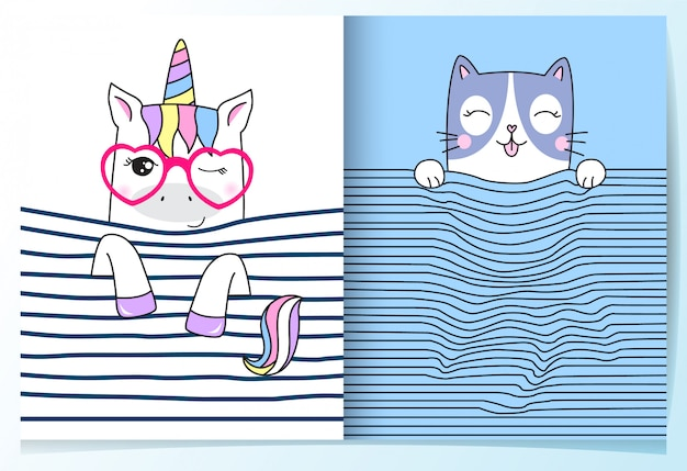 Dibujado a mano lindo conjunto de unicornio y gato