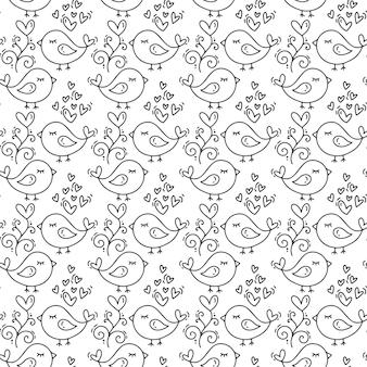 Dibujado a mano lindo día de san valentín corazón flourish y patrón de aves.