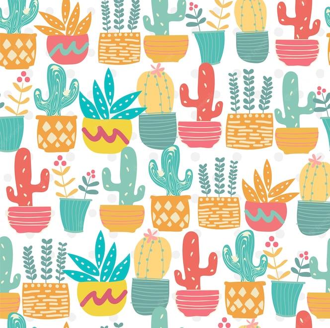 Dibujado a mano lindo doodle patrón de cactus pastel transparente