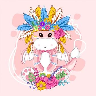 Dibujado a mano lindo dragón y plumas