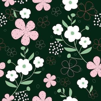 Dibujado a mano lindo flores de fondo sin fisuras patrón