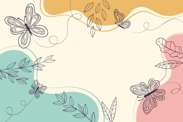 Dibujado a mano lindo fondo de contorno de mariposa