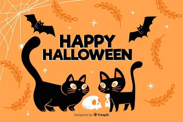 Dibujado a mano lindo fondo de gatos negros de halloween