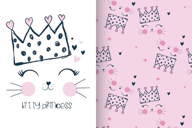 Dibujado a mano lindo gatito con patrón establecido