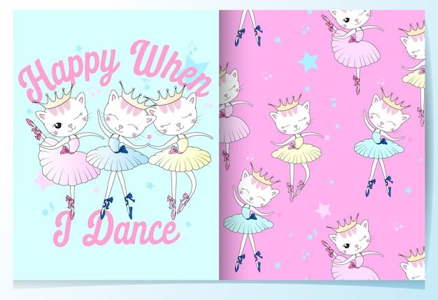 Dibujado a mano lindo gato bailando de patrones sin fisuras