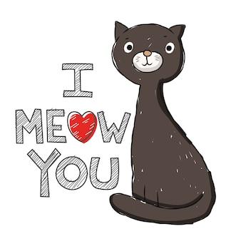 Dibujado a mano lindo gato para camiseta