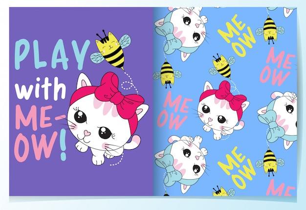 Dibujado a mano lindo gato con conjunto de patrón de abeja