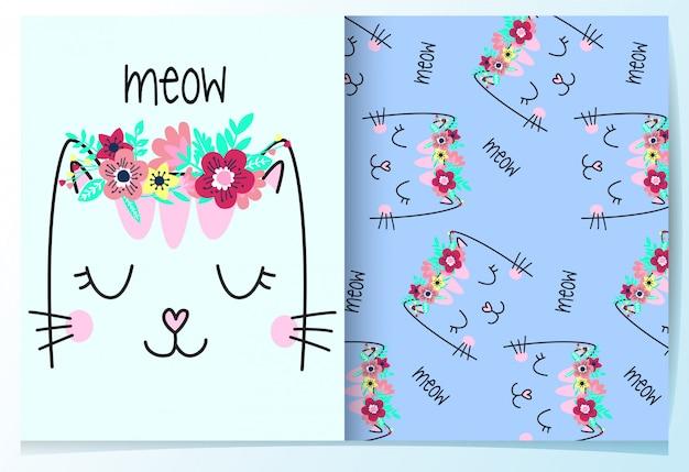 Dibujado a mano lindo gato con conjunto de patrón de flor