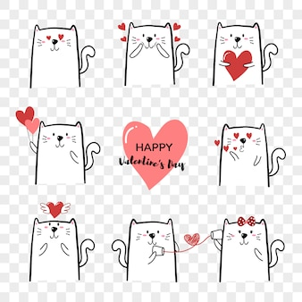 Dibujado a mano lindo gato de dibujos animados para el día de san valentín