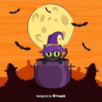 Dibujado a mano de lindo gato negro de halloween