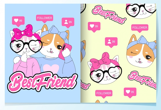 Dibujado a mano lindo gato y perro selfie patrón conjunto