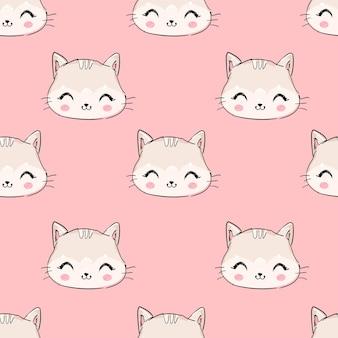 Dibujado a mano lindo gato rosa patrón de fondo
