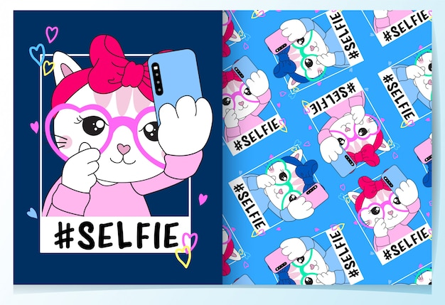 Dibujado a mano lindo gato selfie patrón conjunto
