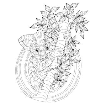 Dibujado a mano lindo koala en el árbol