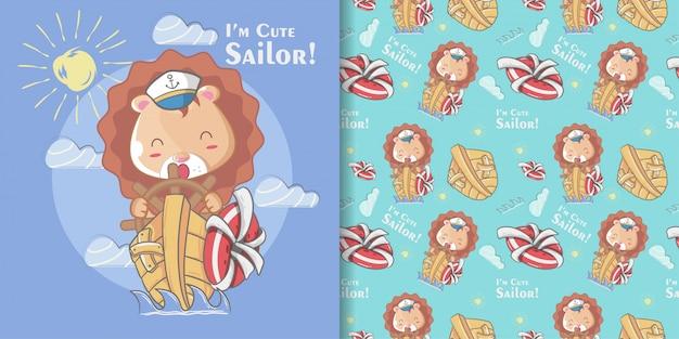 Dibujado a mano lindo marinero león de patrones sin fisuras y tarjeta de ilustración