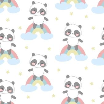 Dibujado a mano lindo oso panda con patrones sin fisuras de arco iris