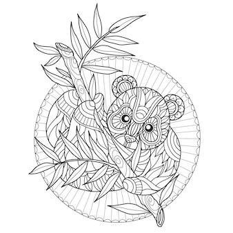 Dibujado a mano lindo panda y bambú