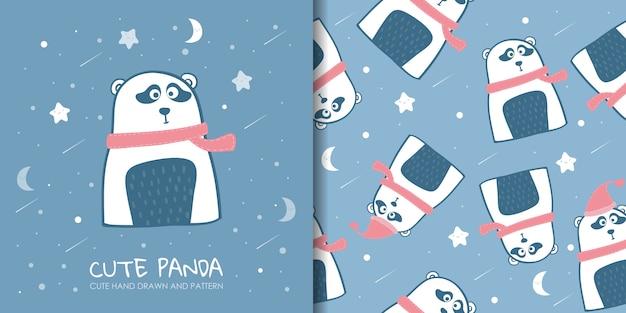 Dibujado a mano lindo panda con conjunto de patrones sin fisuras