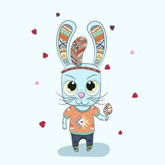 Dibujado a mano lindo pequeño conejo boho historieta