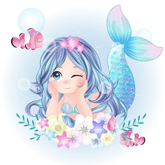 Dibujado a mano lindo personaje de sirena