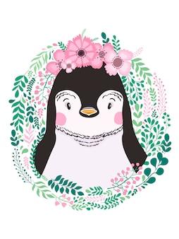 Dibujado a mano lindo pingüino animal