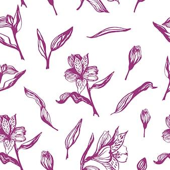 Dibujado a mano lindo realista alstroemeria de patrones sin fisuras. flores de primavera tradicionales en estilo de tinta para decoración de bodas y diseño de fondo.