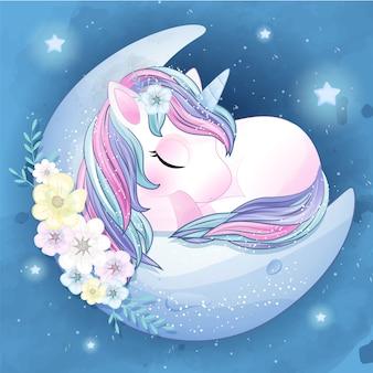 Dibujado a mano lindo unicornio durmiendo en la luna